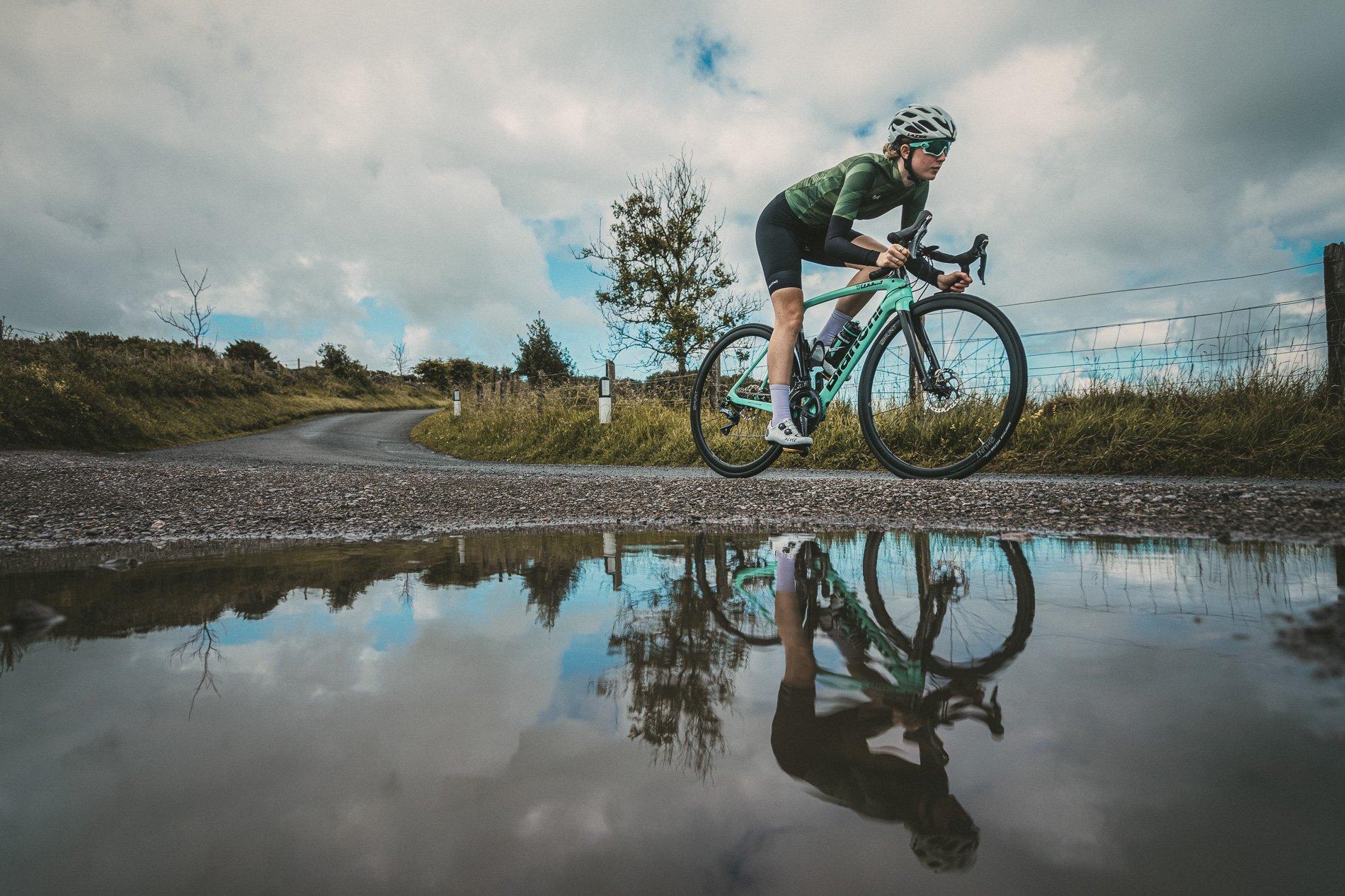 Female cyclist goodyear tires
