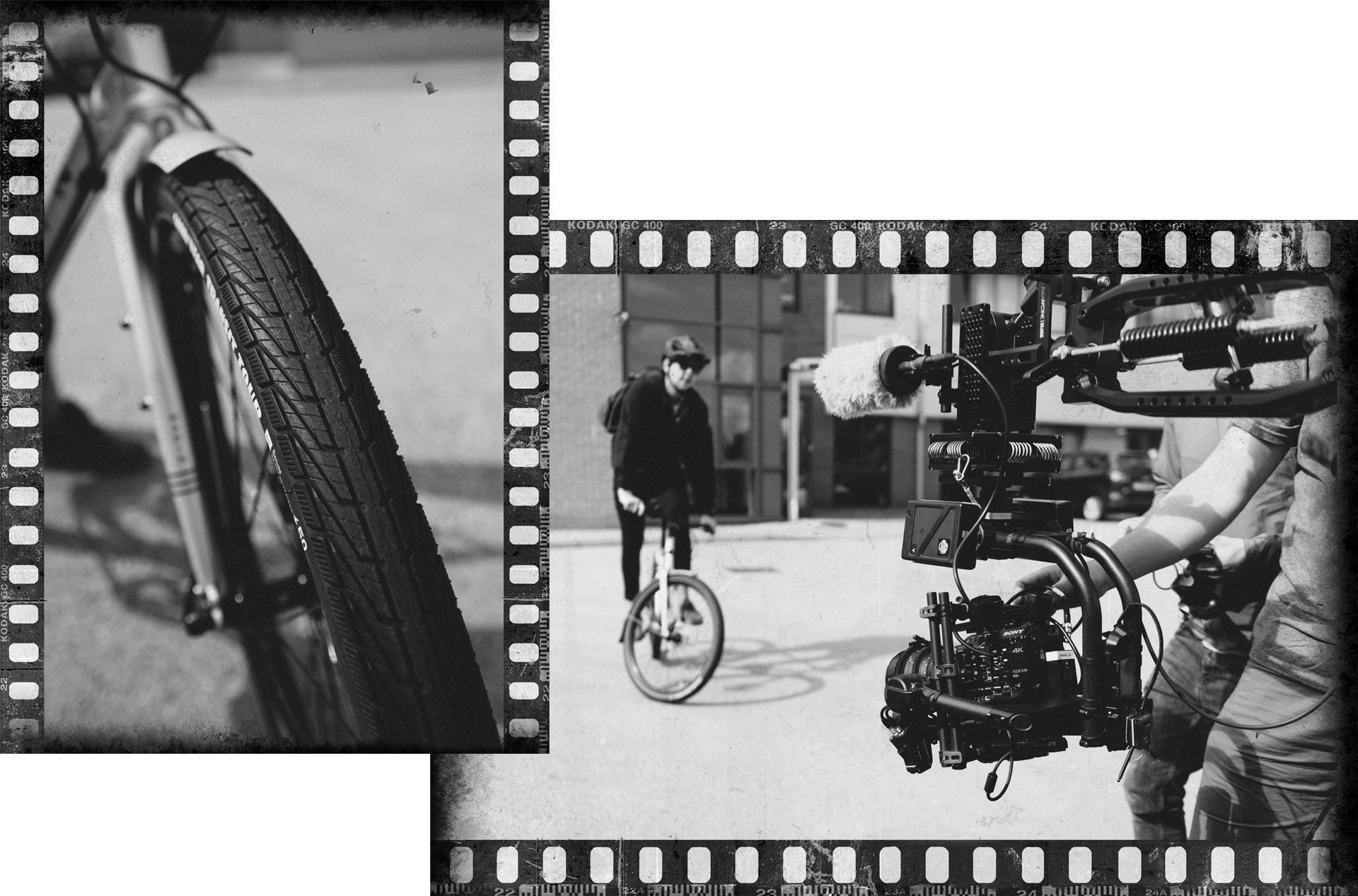 Black&White photo of Goodyear Transit Tour tire