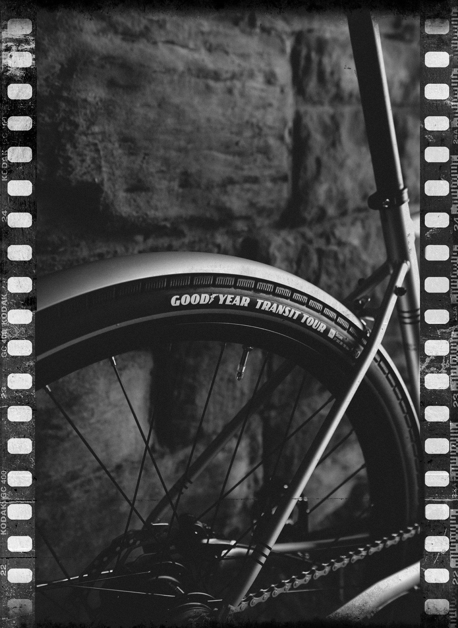 Mono photo of Goodyear Transit Tour bike tire