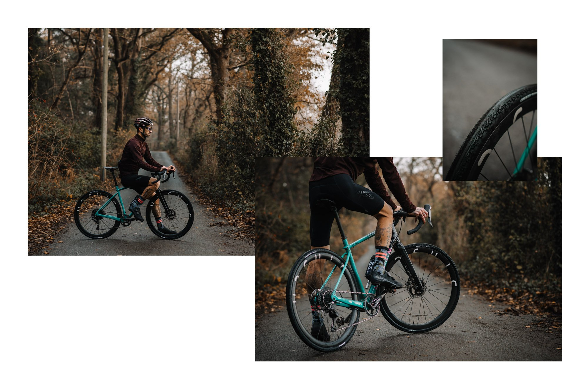 Photo montage of Dave Noakes riding Goodyear bicycles tires