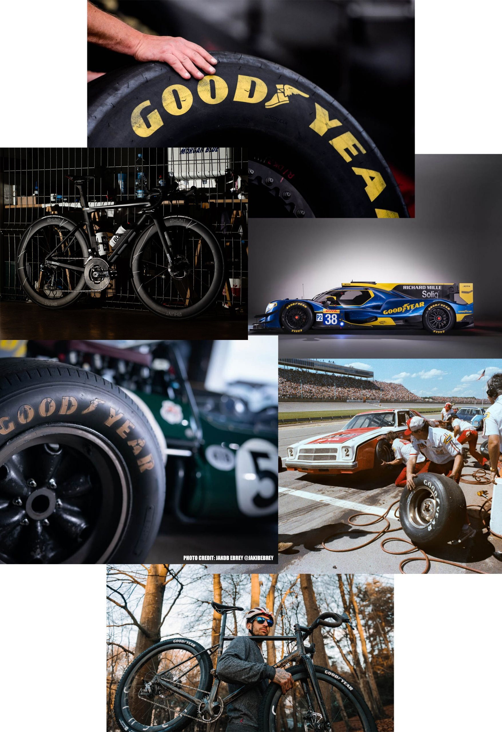 Montage of historic Goodyear tires